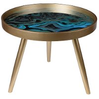 Blue Swirl Livonia Side Table with Tray Top