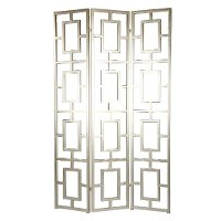 Open Silver 3-Panel Floor Screen