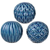 Assorted 4 Inch Blue Marbleized Accent Sphere