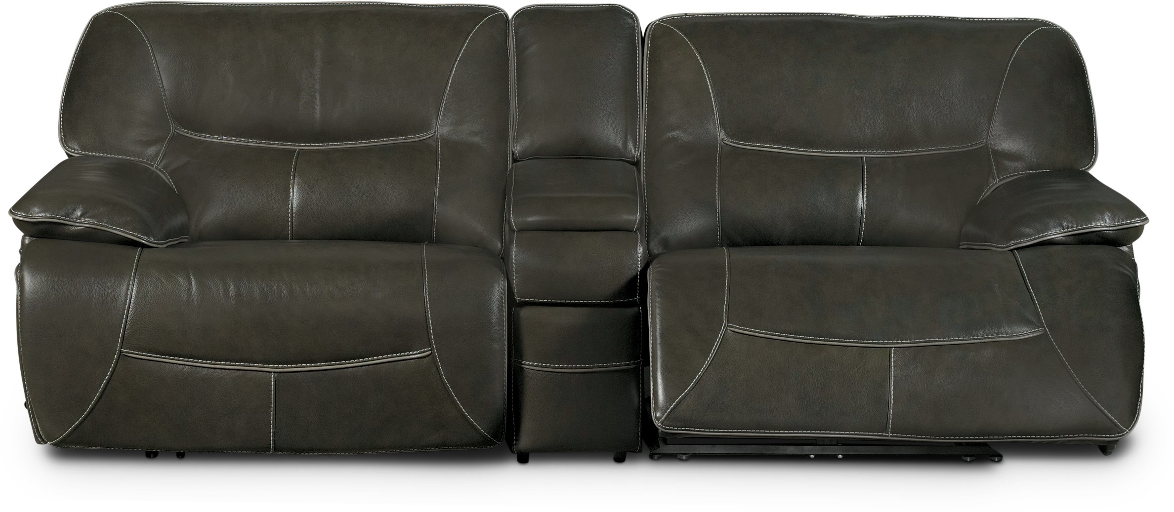 Ghost gray leather match 8 piece power reclining sectional for 8 piece leather sectional sofa
