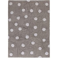 C-00005 4 x 5 Small Polka Dots Gray and White Washable Rug