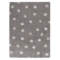 C-TT-1 4 x 5 Small Tricolor Polka Dots Gray & Pink Washable Rug
