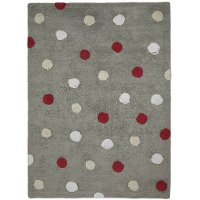 C-TT-3 4 x 5 Small Tricolor Polka Dots Gray & Red Washable Rug
