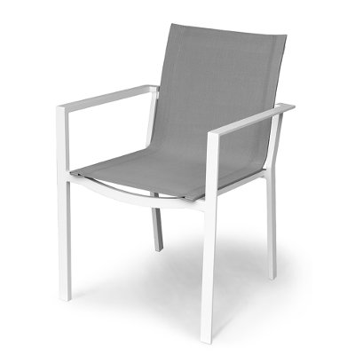 Outdoor Patio Sling Dining Chair Gray - Kedo