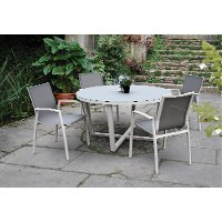 White and Gray Modern 5 Piece Outdoor Patio Dining Set - Kedo
