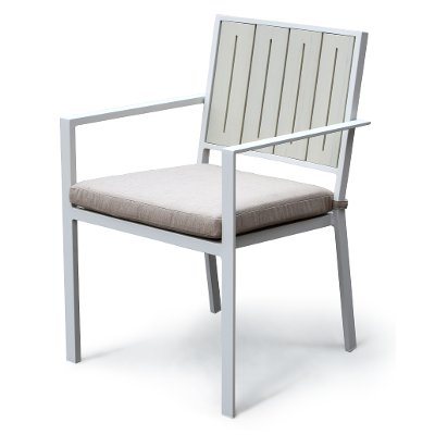 White Outdoor Patio Chair with Sand Cushion - Kedo