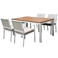 5 Piece White Modern Patio Dining Set - Kedo