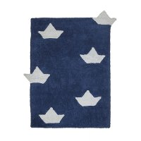 C-BAR-10 4 x 5 Small Navy Blue Boats Washable Rug