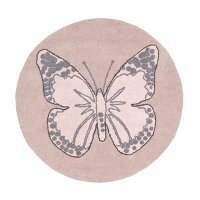 C-BUT-N 5' Round Pink Vintage Butterfly Washable Rug