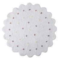 C-13300 5' Round White Little Biscuit Washable Rug
