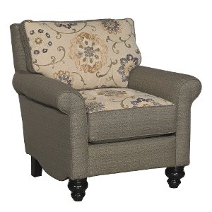 ... Classic Traditional Pewter Gray U0026 Gold Accent Chair ...