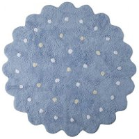 C-13302 5' Round Blue Little Biscuit Washable Rug