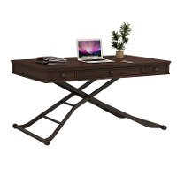 Cherry Brown Sit and Stand Adjustable Height Desk