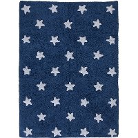 C-M-SW 4 x 5 Small Navy Blue & White Stars Washable Rug
