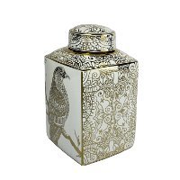 16 Inch White and Gold Mosaic Hawk Lidded Jar