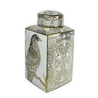 18 Inch White and Gold Mosaic Hawk Lidded Jar