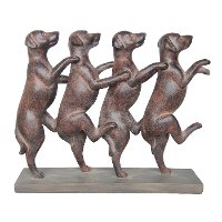 Rust Dancing Dogs Sculpture