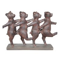 Rust Dancing Pigs Sculpture