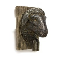 Rust Sheep Head with Bell Wall Decor