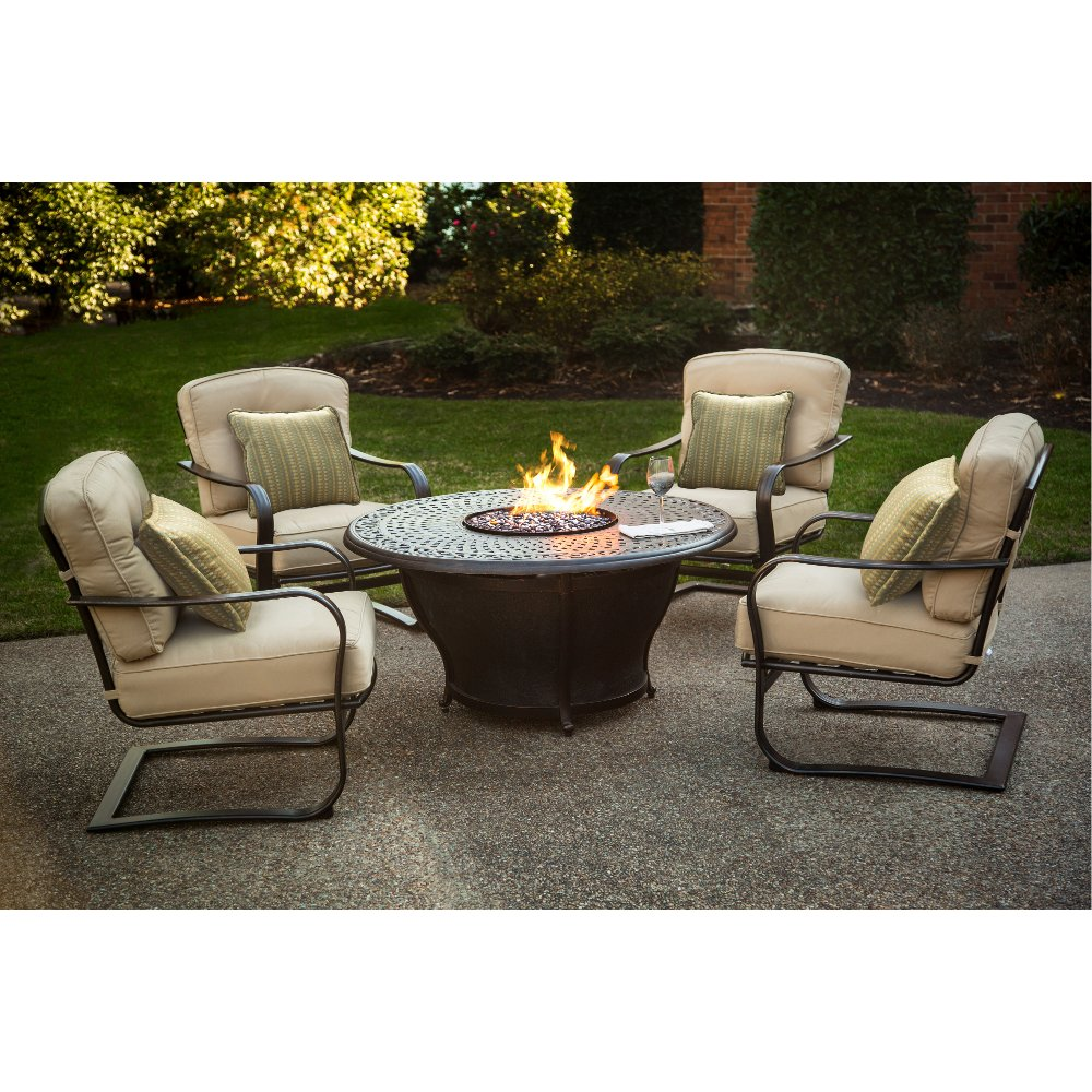 ... 5 Piece Fire Pit Chat Group   Charleston