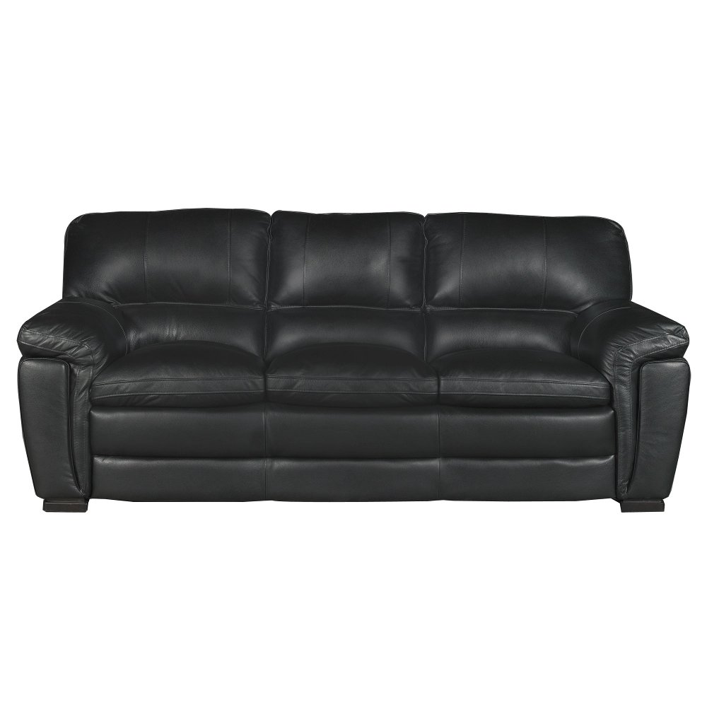 Black Leather Couch Part - 19: Casual Contemporary Black Leather Sofa - Tanner | RC Willey Furniture Store