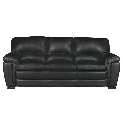 Casual Contemporary Black Leather Sofa   Tanner