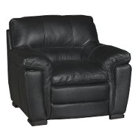 Casual Contemporary Black Leather Chair - Tanner