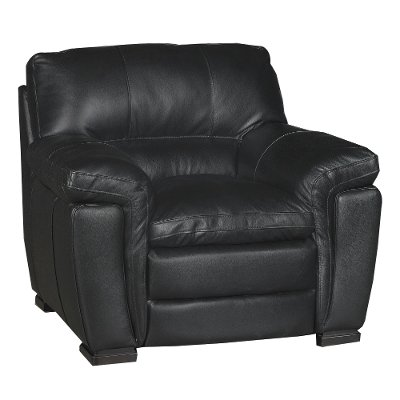 Casual Contemporary Black Leather Chair   Tanner