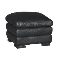 Casual Contemporary Black Leather Ottoman - Tanner