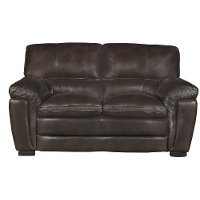 Casual Contemporary Brown Leather Loveseat - Tanner