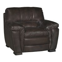 Casual Contemporary Brown Leather Chair - Tanner
