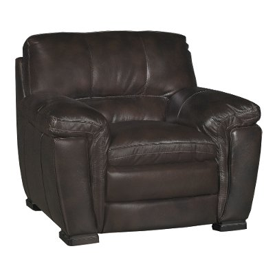Casual Contemporary Brown Leather Chair   Tanner