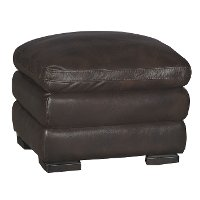Casual Contemporary Brown Leather Ottoman - Tanner
