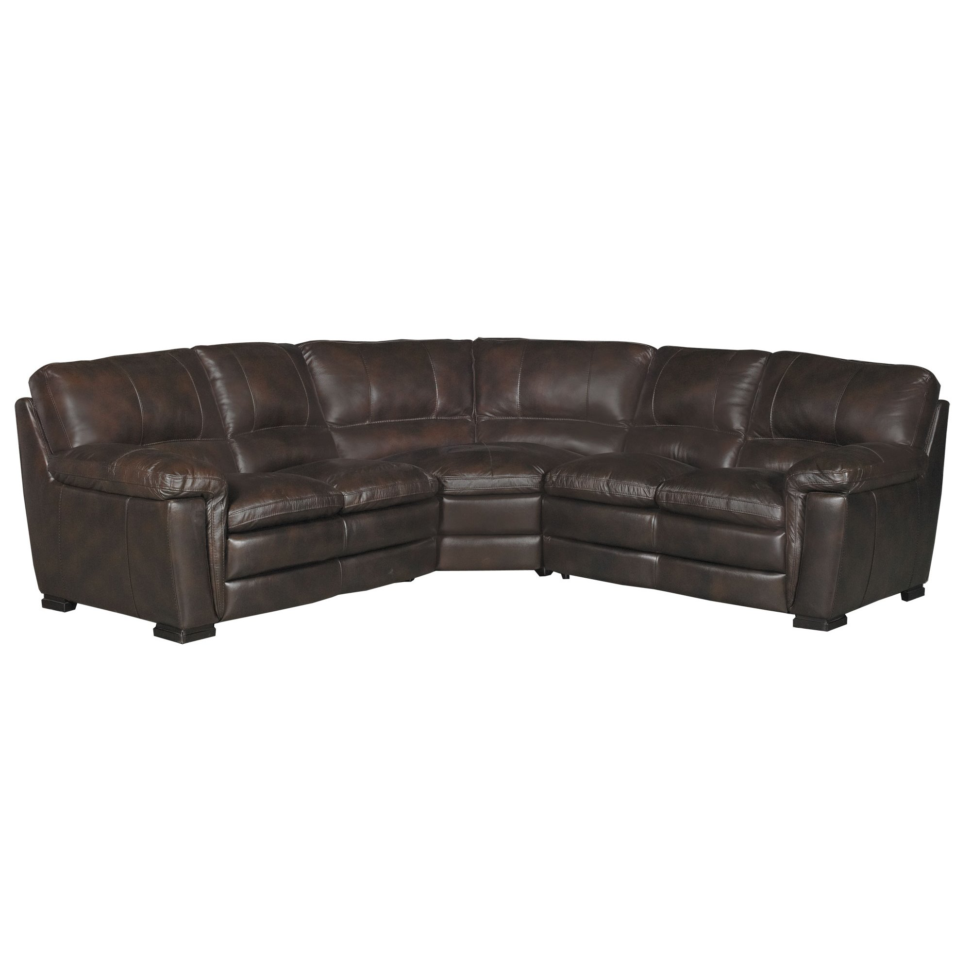... Casual Contemporary 3 Piece Brown Leather Sectional   Tanner