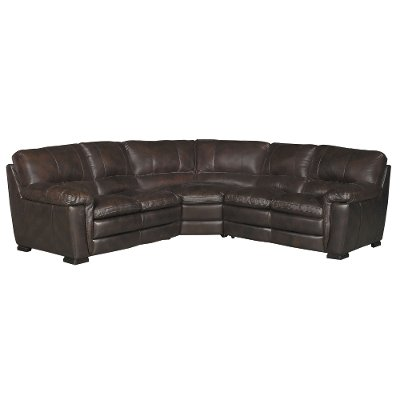 Contemporary 3 Piece Brown Leather Sectional Sofa - Tanner