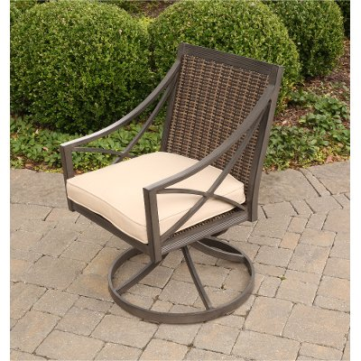 Wicker Brown Patio Swivel Chair with Tan Cushion - Davenport