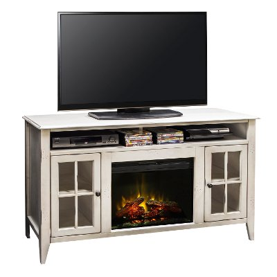 Why go out in the cold when you can stay home and enjoy a movie with this rustic white combination fireplace and TV stand from RC Willey? The Calistoga collection takes all the best aspects of rustic & traditional designs and brings them together to create furniture that is sure to enhance any home decor with a fun sophistication. The rich