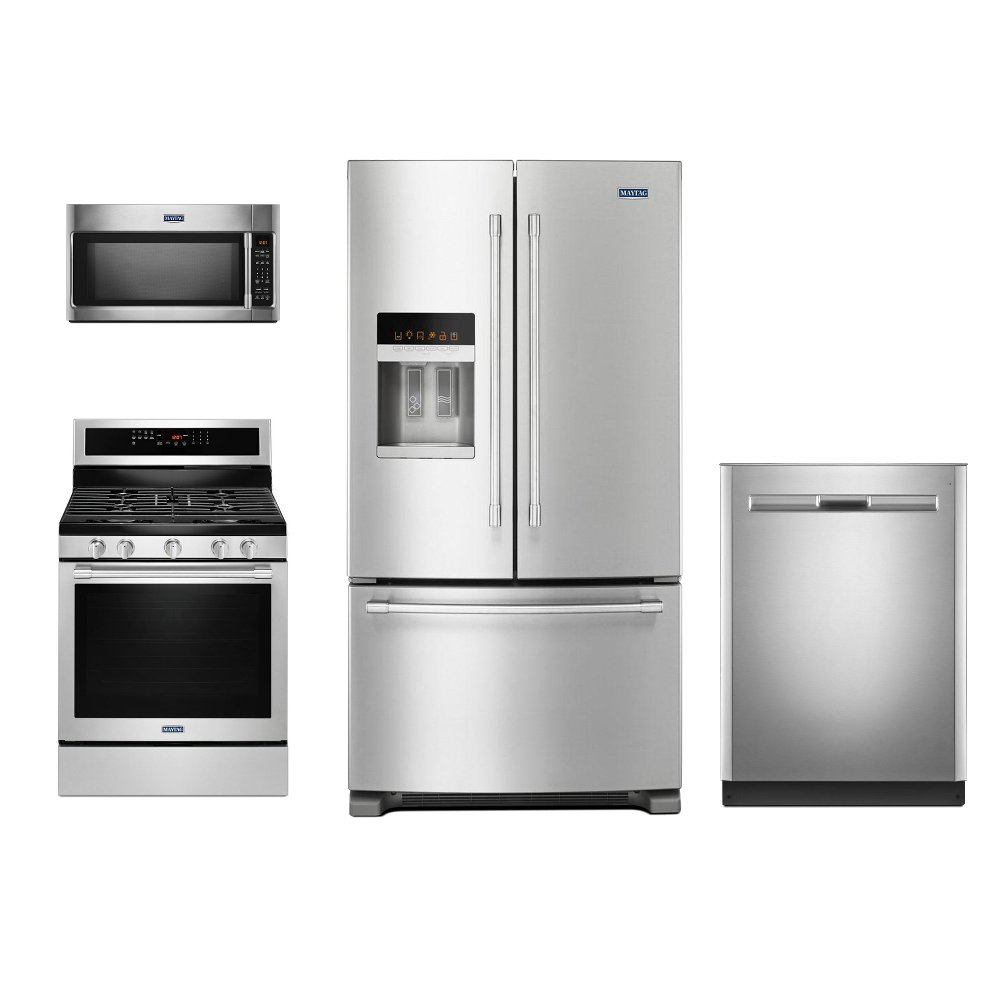 Maytag 4 Piece Stainless Steel Kitchen Appliance Package with Gas ...