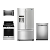 KIT Maytag 4 Piece Stainless Steel Kitchen Appliance Package with Gas Range