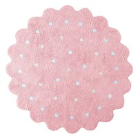 C-13301 5' Round Pink Little Biscuit Washable Rug