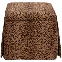 37-2SKCHTERT Cheetah Earth Skirted Storage Ottoman