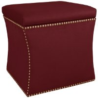 49-6NB-GDVLVBR Velvet Berry Nail Button Storage Ottoman
