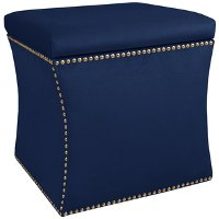 49-6NB-GDVLVNV Velvet Navy Nail Button Storage Ottoman
