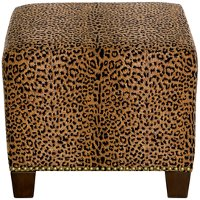 57-2NB-BRCHTERT Cheetah Earth Square Nail Button Ottoman