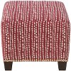 57-2NB-GDLNDTHLDRD Line Dot Holiday Red Nail Button Square Ottoman