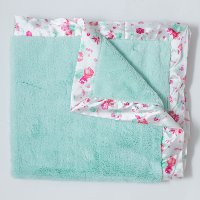 Mint Lush with Pastel Floral Satin Border Baby Blanket