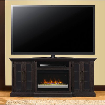 Take the chill off your room with this beautiful espresso brown fireplace and TV stand from RC Willey. Quality pine construction