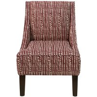 72-1LNDTHLDRD Line Dot Holiday Red Swoop Arm Chair