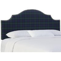 832NB-GDBLCBLC Blackwatch Plaid Arch Upholstered Queen Size Headboard