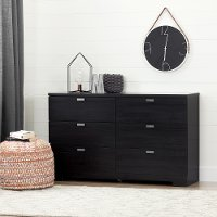 10258 Black 6 Drawer Double Dresser - Reevo